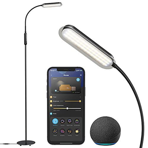 Govee LED Floor Lamp for Living Room, Standing Lamp Alexa Voice and Smart WiFi Bluetooth App Control, Modern Reading Lamp , Adjustable Gooseneck Warm and Cool White Floor Lamp for Bedroom