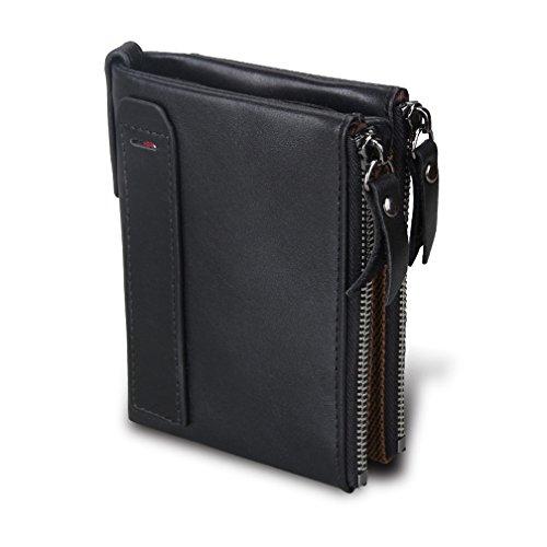 Men RFID Blocking Wallet Small Vintage Crazy Horse Leather