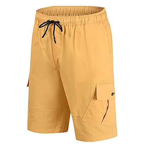 Herren Sport Shorts Sommer Kurze Hosen Vintage Cargo Baumwolle Atmungsaktive Sporthose mit Taschen für Freizeit Sport Jogging Ripstop Shorts Basic Sweatshorts Jogginghose