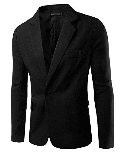 Uomo Slim Fit Uomo Casual One Button Elegante Vestito di Affari Cappotto Giacca Blazers Top Outwear Nero L
