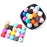 50pcs 17mm 25colors DIY Silicone Beads for Teether Mix Color Hexagon DIY Necklace/Bracelet Baby Teething Beads