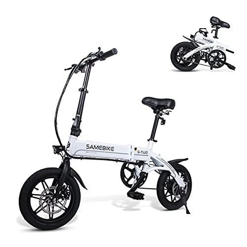 SAMEBIKE YINYU14 vélo électrique 250W 36V 7.5AH Batterie au Lithium Ultra-léger 14 Pouces vélo électrique Pliant pour Adultes (Blanc)