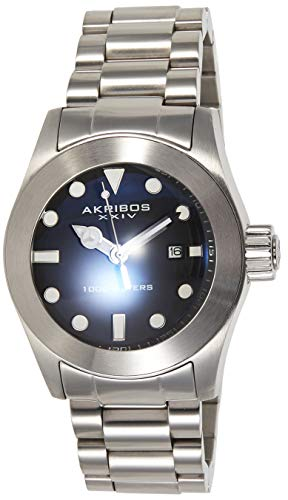 Akribos XXIV Men's Sharp Watch - Bold, Luminescent, Hour Markers Black Glossy Dial and Stainless Steel Bracelet - AK730