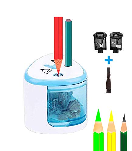 Battery Operated Sharpener and Double Hole Electric Pencil Sharpener for School,Classroom,Home,Office,Battery Operated Pencil Sharpener for Kids, Teachers,Artists(#blue)