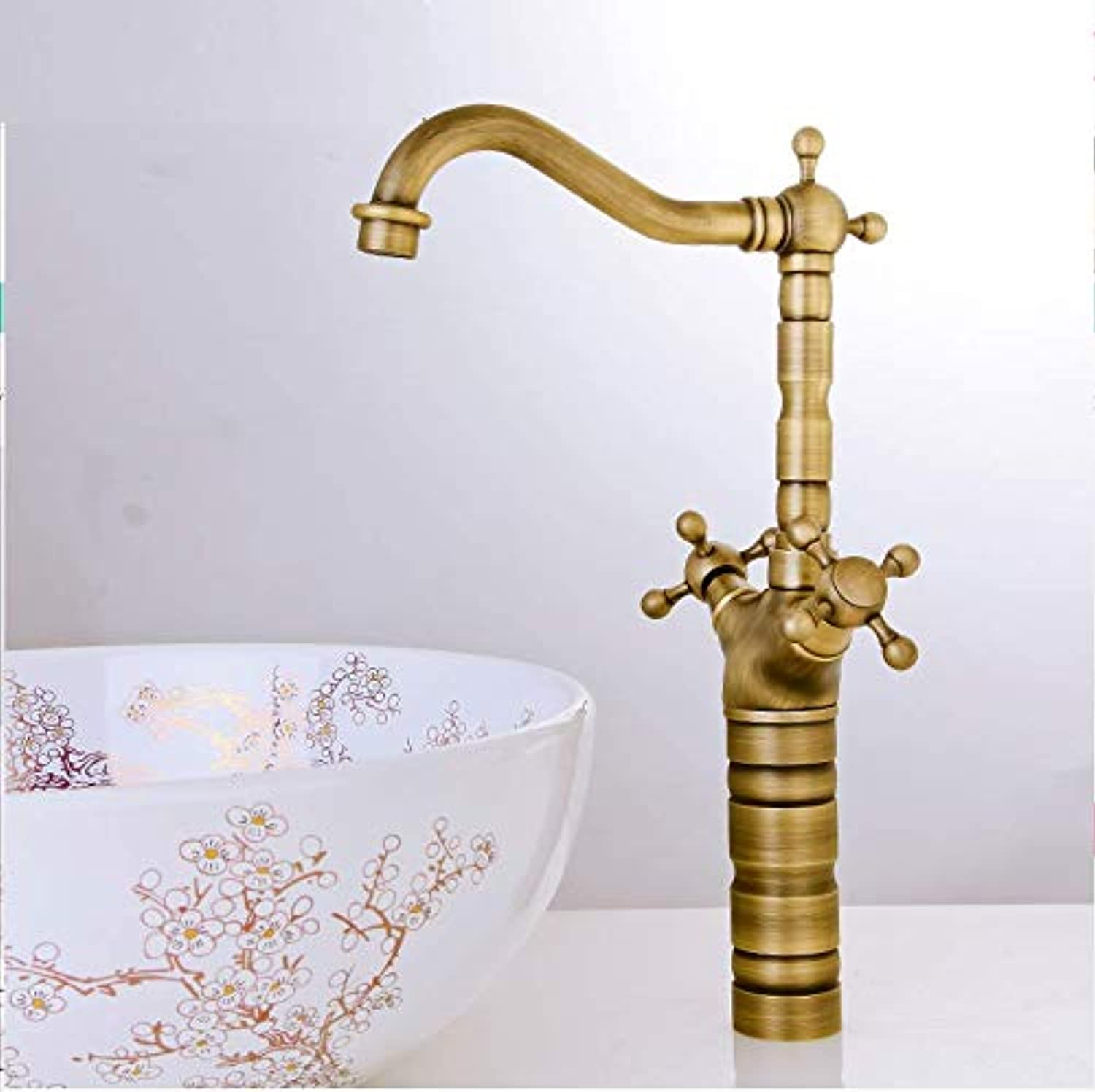 Hot and Cold Water Faucet Copper European Antique Faucet Basin Faucet Basin Faucet Above Counter Basin
