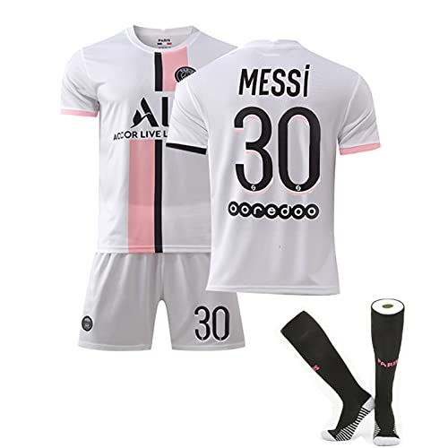 ACJIA Messi - Camiseta de fútbol de 3 piezas, 21-22 30 # Paris Away Messi de fútbol de tela transpirable de secado rápido para hombres/niños, B, 22 #