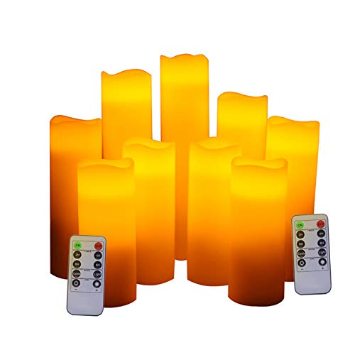 caiyuankai Battery Operated Flameless Candles 4' 5' 6' 7' 8' 9' Set of 9 Real Wax Pillar LED Flickering Candles with Remote Control and Timer
