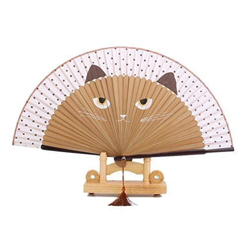 XKMY Abanico plegable para manualidades, diseño de gato, pintado a mano, de seda, de bambú, para decoración del hogar, regalo de boda, suministros de fiesta (color: marrón)