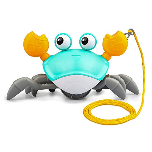 Bath Toys for Toddler 1-3 Years, Clockwork Walking Crab Pulling Toys Birthday Festival Gifts for 3/4/5 Years Boys Girls, Cute Cartoon Crab Toy with a 29.5in Cord to Pull and Play
