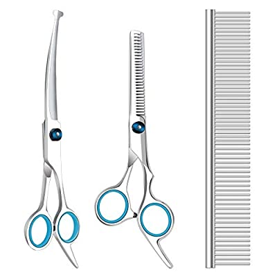 Dog Grooming Scissors with Safety Round Tips, Heavy Duty Titanium Pet Grooming Trimmer Kit, Professional Thinning Shears, Straight Scissors with Comb for Dogs and Cats (Set of 3) from Gongcheng Dianzi Keji