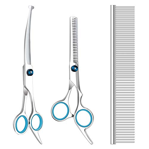 Maxshop Dog Grooming Scissors with Safety Round Tips, Heavy Duty Titanium Pet Grooming Trimmer Kit, Professional Thinning Shears, Straight Scissors with Comb for Dogs and Cats (Set of 3)