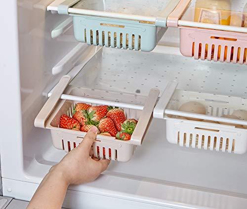 スケーラブル冷蔵庫の引き出し,冷蔵庫引き出し収納ボックス,家および台所用冷蔵庫引き出し収納バスケット, 3個セット
