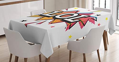 ABAKUHAUS lol Tafelkleed, Speech Bubble Kleurrijke Sterren, Eetkamer Keuken Rechthoekige tafelkleed, 140 x 170 cm, Veelkleurig