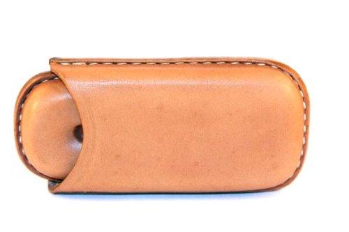 Porta due sigari mezzo toscano in cuoio naturale cucito a mano - Hand made in Italy