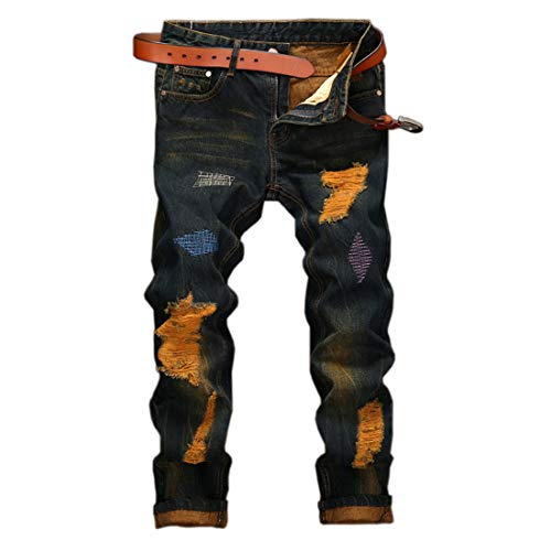 utcoco Men's Street Performance Classic Fit Ripped Contrast Denim Jeans Pant with Embroider (34, Dark Blue)