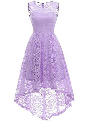 MUADRESS 6006 Women's Vintage Floral Lace Sleeveless Hi-Lo Cocktail Formal Swing Dress Lavender M