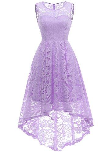MuaDress 6006 Elegante Abendkleider Cocktailkleider Damenkleider Brautjungfernkleider aus Spitzen Knielange Rockabilly Ballkleid Rund Ausschnitt Lavender 2XL