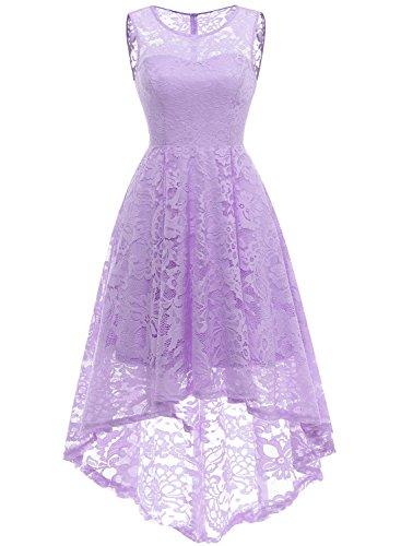 MUADRESS 6006 Women's Vintage Floral Lace Sleeveless Hi-Lo Cocktail Formal Swing Dress Lavender L