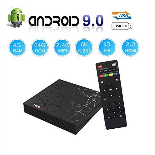 T95 MAX Android 9.0 TV Box, Smart Box Vídeo Reproductor Multimedia 4GB RAM 64GB ROM H6 Quad-Core Cortex-A53 Mali-T720MP2 Soporte 6K H.265 100M LAN Enternet 2.4GHz WiFi, Caja de Televisor con USB 3.0