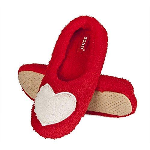 soxo Kuschel Damen Hausschuhe | Frauen Kuschelsocken mit Herzmotiv | Weich und Warme Ballerinas mit Weißem Fell