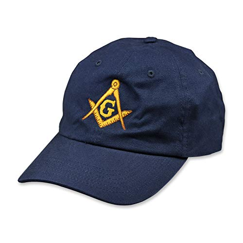 Gold Square & Compass Embroidered Masonic Brushed Twill Unstructured Hat - [Navy]