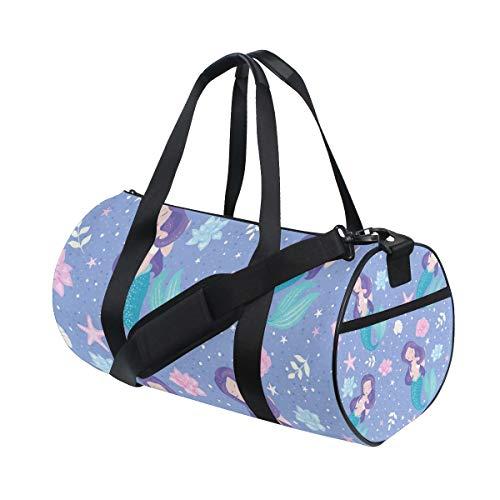 AJINGA Beautiful Lilac Mermaid Seamless Travel Duffle Bag Sports Luggage with Backpack Straps for Gym