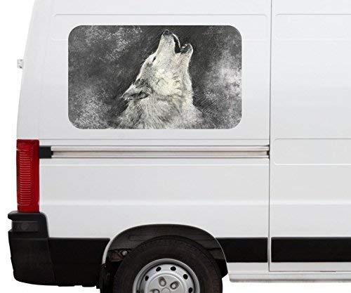 Autoaufkleber Wolf heulen Wildnis Tier Kopf Indianer Car Wohnmobil Auto tuning Digital Druck Fenster Sticker LKW Bild Aufkleber 21B1179, Größe 3D sticker:ca. 45cmx27cm