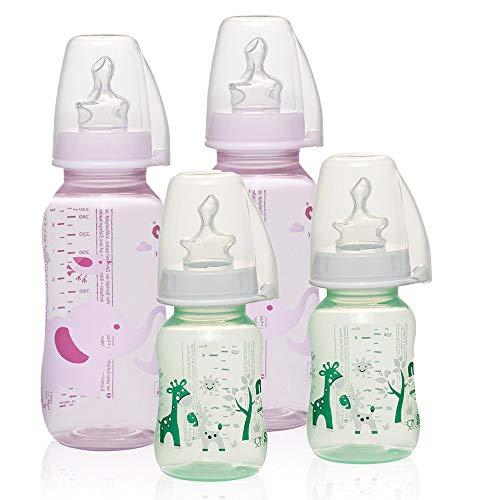 NIP PP Flasche Girl // 4er Set // Babyflasche 2 x 125 ml & 2 x 250 ml // kiefergerechter Sauger Silikon mit Anti-Kolik Ventil // Größe S & M (Tee & Milch/ab 0 Monate) // inkl. Verschlußplättchen
