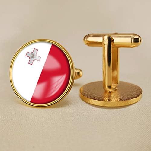 YYOBK Boys' Cuff Links,Men's Cuff Links,Shirt Studs,Sports Fan Cuff Links,Malta Flag Cufflinks,Round Cufflinks, Copper 19mm (Color : Gold, Size : 19mm)