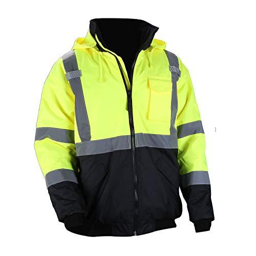 Men's ANSI Class 3 Hi Vis Safety Bomber Jacket Concealed Hood Waterproof Full Zip Quilted Padding Work Jacket Black Bottom(4XL, Yellow)