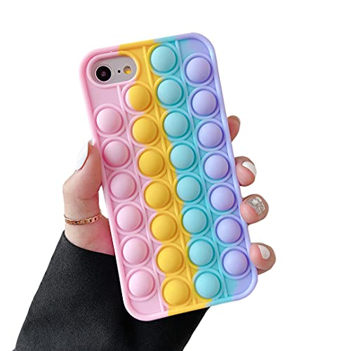 Cocomii Push Pop Fidget Toy iPhone SE 2020/iPhone 8/iPhone 7/iPhone 6 Case, Slim Soft TPU Push Pop Bubble Fidget Sensory Toy Anxiety Stress Bumper Cover Compatible with iPhone SE 2020/8/7/6 (Rainbow)