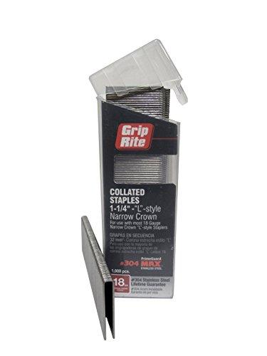 Grip Rite MAXB64891 16-Gauge 7//16-Inch Medium Crown by 1-1//2-Inch 304-Stainless Steel Staples in Belt Clip Box Pack of 500