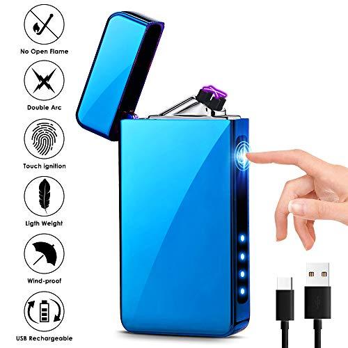 KIMILAR Lichtbogen Feuerzeug, Elektro Feuerzeug USB, Dual Aufladbar Berührungssensor Winddicht Flammenloser Elektronisches Feuerzeug für Kerzen Zigaretten Küche Grill (EIS Blau)