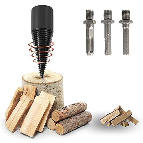 Fanutopie Firewood Drill Bit Wood Log-Splitter Set 3pcs Wood Splitting Drill-Bit for Hand Drill Square Round Hex-Shank 32mm