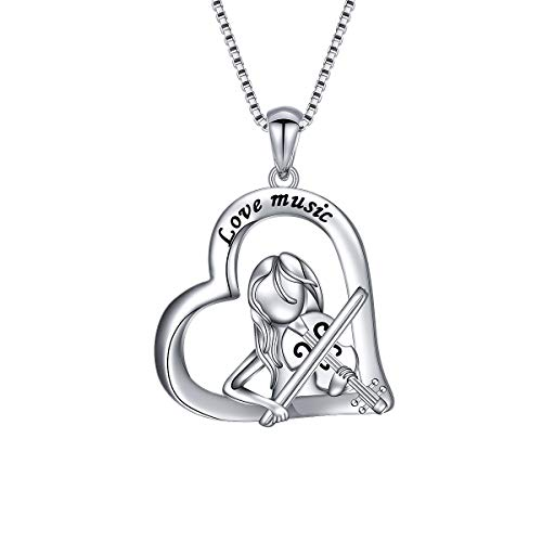 925 Sterling Silver I Love Music Girl Plays Violin Heart Pendant Necklace Gift for Violinist Daughter Girls Women, 18 inch