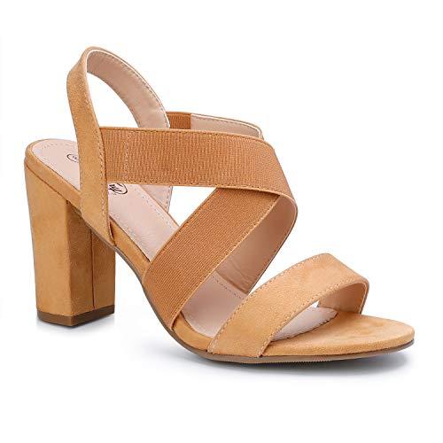 Trary Women's Elastic Strap Chunky Heel Block Dress Sandals Brown 08
