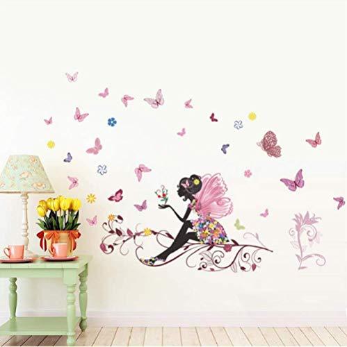 STPillow Muursticker - Mooi meisje vlinder bloemenkunst voor wooncultuur persoonlijkheid muurschildering kinderkamer decoratie print poster