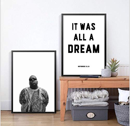 Biggie Smalls Rap Lyrics Leinwand Kunstdruck/Poster Wandposter, The Notorious Big Art Decor Leinwand Gemälde Wandbild Home Decoration 50x70cmx2 No Frame