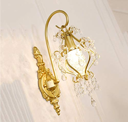 Chenjia Lámpara de pared de cristal, lámpara de pared de cristal dorada Sala de estar Espejo de cabecera Faros modernos Lámpara de pasillo Luces creativas Lámpara de pared de estilo europeo Corredor e