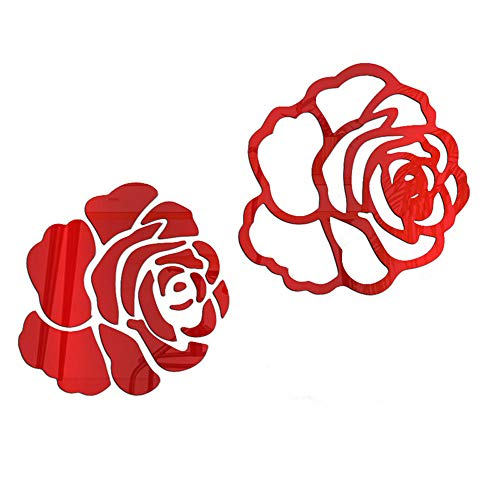 YEEXCD Wandaufkleber, 3D Rose Blume Acryl Spiegel Wandaufkleber, abnehmbare DIY Kristall Wandtattoo, für Wohnzimmer Schlafzimmer Wohnkultur,Rot