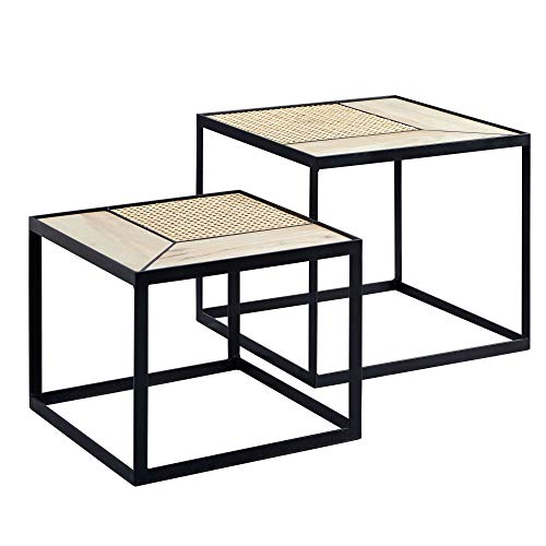 Wohnling Juego de 2 mesas auxiliares de diseño, de mango/ratán, rectangulares, con patas de metal, 2 piezas, madera y metal