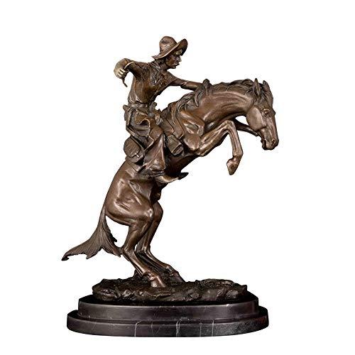 JLXQL Statuen Dekoartikel Skulpturen Figuren Hauptdekoration Zubehör Bronzestatue Skulptur Reitpferdeskulptur Wohnkultur Bronzeskulptur Statue
