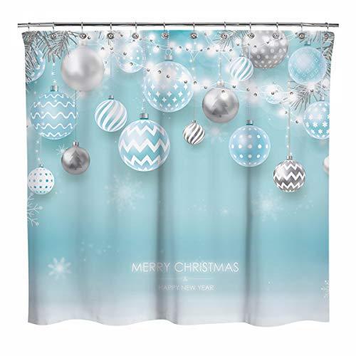 Sunlit Weihnachten hellblau & silber Kugeln Ornamente Schneeflocken mit Weihnachtsbaum Blätter Stoff Duschvorhang, Badezimmer Zuhause Urlaub Wanddekoration als Wandteppich Fotoautomaten Hintergr&