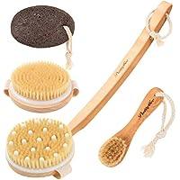 de cepillo seco Kit 4PCS,Pretty See Exfoliación Cepillo de masaje corporal,Cepillo facial, piedra pómez para eliminar la piel muerta,reducir la celulitis