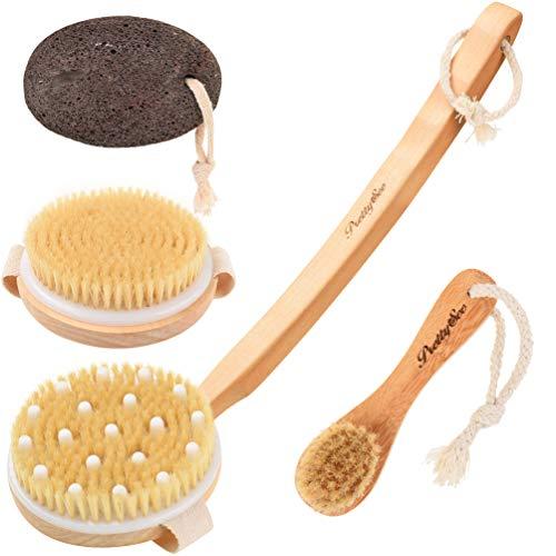 Brosse de Bain Massage,Pretty See 4Pcs Brosse de douche,soies de porc bain dos Brosse pour le corps et pierre ponce pour éliminer les peaux mortes et réduire la cellulite