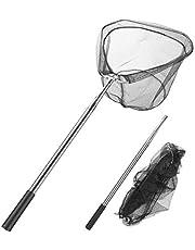 Homealexa Vissers, telescoopschepnet 180 cm, visnet met opvouwbaar visnet, visaccessoires voor volwassenen en kinderen (driehoek)