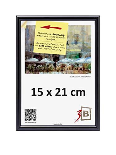 3-B Cadre photo - 15 x 21 cm - Noir - Cadre photo en plastique avec verre en polyester