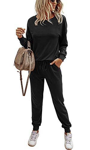 Women's Solid Athletic Sweatsuits Sets Casual Pull...
