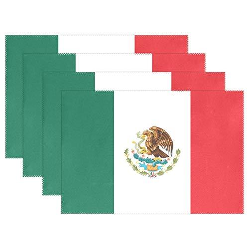 Promini manteles Individuales Resistentes al Calor, diseño de la Bandera de México, Lavables, de poliéster, Antideslizantes, Lavables, para Cocina, Comedor, Juego de 4 Unidades