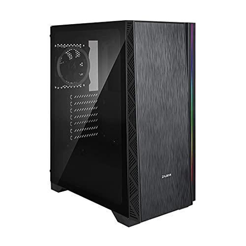 Zalman Z3 NEO ATX Mid Tower Gaming PC Case, ventilador de 2 x 120 mm preinstalado, panel lateral de cristal templado, sistema de gestión de cables, filtro de polvo magnético, color negro